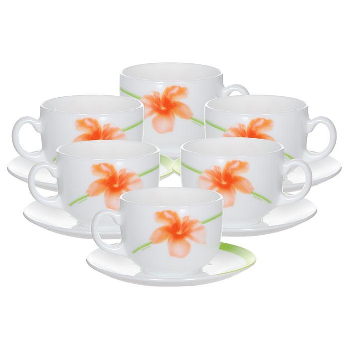 Набор чайный Luminarc Sweet Impression, цвет: белый, зеленый, оранжевый, 12 предметовVT-1520(SR)Чайный набор Luminarc Sweet Impression состоит из 6 чашек и 6 блюдец, изготовленных из высококачественногостекла и оформленных красочным рисунком. Изящный дизайн придется по вкусу и ценителям классики, и тем, кто предпочитает утонченность и изысканность.Чайный набор Luminarc Sweet Impression настроит на позитивный лад и подарит хорошее настроение с самогоутра.Диаметр чашки (по верхнему краю): 8,5 см.Диаметр дна чашки: 4,2 см.Высота чашки: 6 см.Объем чашки: 220 мл.Диаметр блюдца (по верхнему краю): 14 см.Высота блюдца: 1,6 см.