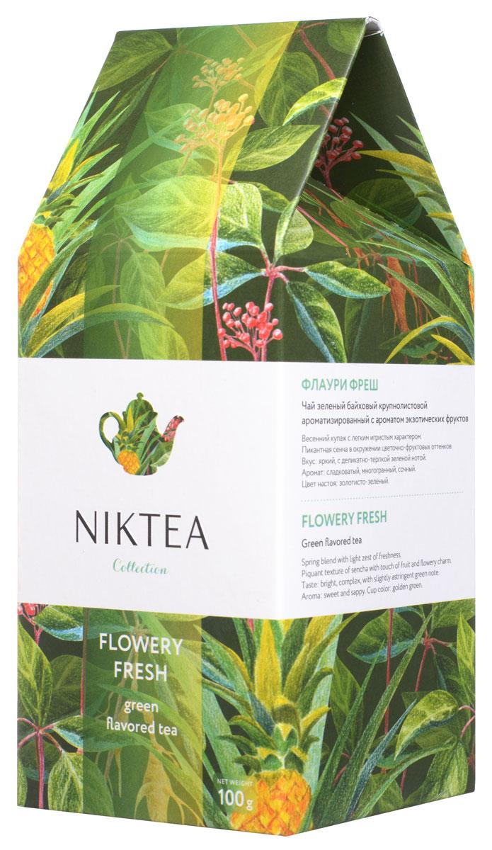 Niktea Flowery Fresh зеленый листовой чай, 100 гTALTHA-L00005Niktea Flowery Fresh - весенний купаж с легким игристым характером. Пикантная сенча в окружении цветочно-фруктовых оттенков - сладких, сочных, с деликатно-терпким послевкусием.Коллекция NikTea разработана командой экспертов, имеющих богатый опыт в чайной индустрии. Во время ее создания выбирались самые надежные поставщики из Европы и стран происхождения чая, а в линейку включили не только топовые аутентичные позиции, но и новые интересные рецептуры в традициях современной чайной миксологии.NikTea - это действительно качественный чай. Для истинных ценителей мы предлагаем безупречное качество: отборное сырье, фасовку на высокотехнологичном производственном комплексе в России, постоянный педантичный контроль готового продукта, а также сертификацию сырья по международным стандартам.NikTea - это разнообразие. В линейках листового и пакетированного чаяпредставлены все основные группы вкусов - от классического черного и зеленого чая до ароматизированных, фруктовых и травяных композиций.NikTea - это стиль. Необычная упаковка с модным авторским дизайном создает яркий и запоминающийся стиль, а интересные коктейльные рецептуры дают возможность экспериментировать со вкусами.В листовой коллекции Niktea воплощена самобытность различных стран, яркие образы различных культур. Среди 6 купажей самобытных купажей каждый найдет свой любимый вкус для чаепития в любой ситуации - на работе, дома или в самых удаленных уголках планеты.Для такого чая мы создали и соответствующую упаковку: колоритный дизайн, удобный клапан с перфорацией для многократного использования, оригинальная по форме пачка с фольгированным герметичным пакетом, который сохраняет свежесть аромата и вкуса на долгое время.
