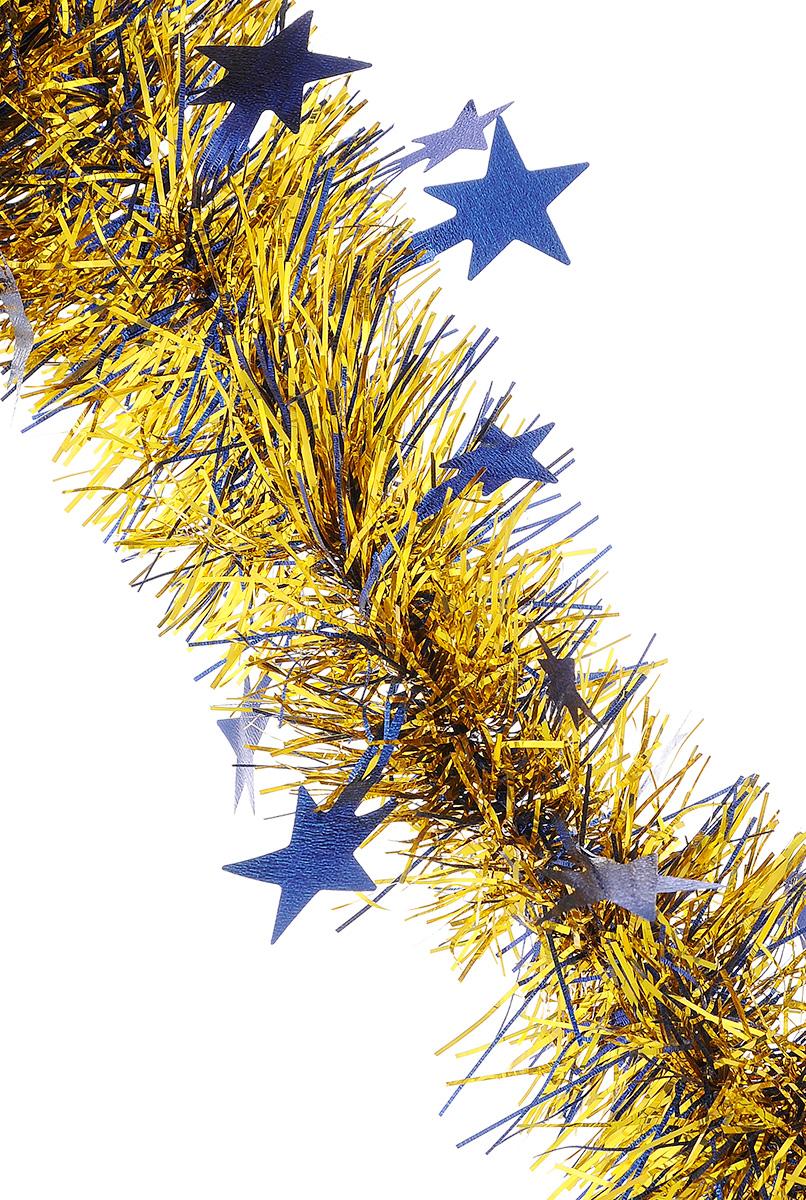 Мишура новогодняя Sima-land, цвет: синий, золотистый, диаметр 9 см, длина 200 см. 706597RSP-202SМишура новогодняя Sima-land, выполненная из двухцветной фольги, поможет вам украсить свой дом к предстоящим праздникам. Мишура армирована, то есть имеет проволоку внутри и способна сохранять приданную ей форму. По всей длине изделие украшено фигурками из фольги в виде гофрированных звездочек. Новогодней мишурой можно украсить все, что угодно - елку, квартиру, дачу, офис - как внутри, так и снаружи. Можно сложить новогодние поздравления, буквы и цифры, мишурой можно украсить и дополнить гирлянды, можно выделить дверные колонны, оплести дверные проемы.