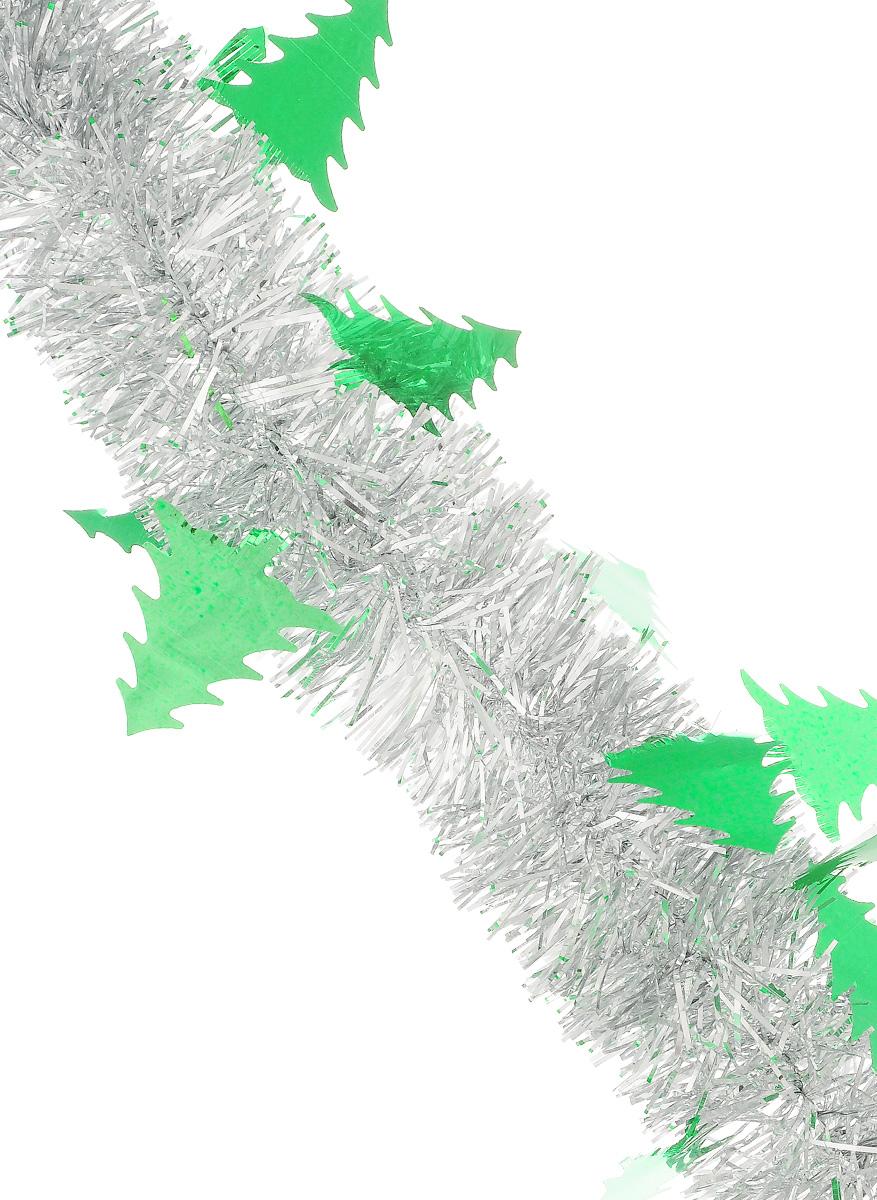 Мишура новогодняя Sima-land, цвет: зеленый, серебристый, диаметр 5 см, длина 200 см. 70260497775318Новогодняя мишура Sima-land, выполненная из фольги с дизайном в виде елочек, поможет вам украсить свой дом к предстоящим праздникам. А новогодняя елка с таким украшением станет еще наряднее. Мишура армирована, то есть имеет проволоку внутри и способна сохранять приданную ей форму. Новогодней мишурой можно украсить все, что угодно - елку, квартиру, дачу, офис - как внутри, так и снаружи. Можно сложить новогодние поздравления, буквы и цифры, мишурой можно украсить и дополнить гирлянды, можно выделить дверные колонны, оплести дверные проемы. Коллекция декоративных украшений из серии Зимнее волшебство принесет в ваш дом ни с чем несравнимое ощущение праздника! Создайте в своем доме атмосферу тепла, веселья и радости, украшая его всей семьей.