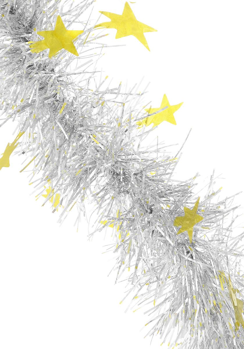 Мишура новогодняя Sima-land, цвет: серебристый, золотистый, диаметр 8 см, длина 200 см. 702600C0038550Пушистая новогодняя мишура Sima-land, выполненная из двухцветной фольги, поможет вамукрасить свой дом к предстоящим праздникам. А новогодняя елка с таким украшением станетеще наряднее. Мишура армирована, то есть имеет проволоку внутри и способна сохранятьпридаваемую ей форму. По всей длине изделие украшено фигурками из фольги в виде звездочек.Новогодней мишурой можно украсить все, что угодно - елку, квартиру, дачу, офис - как внутри, таки снаружи. Можно сложить новогодние поздравления, буквы и цифры, мишурой можно украсить идополнить гирлянды, можно выделить дверные колонны, оплести дверные проемы.