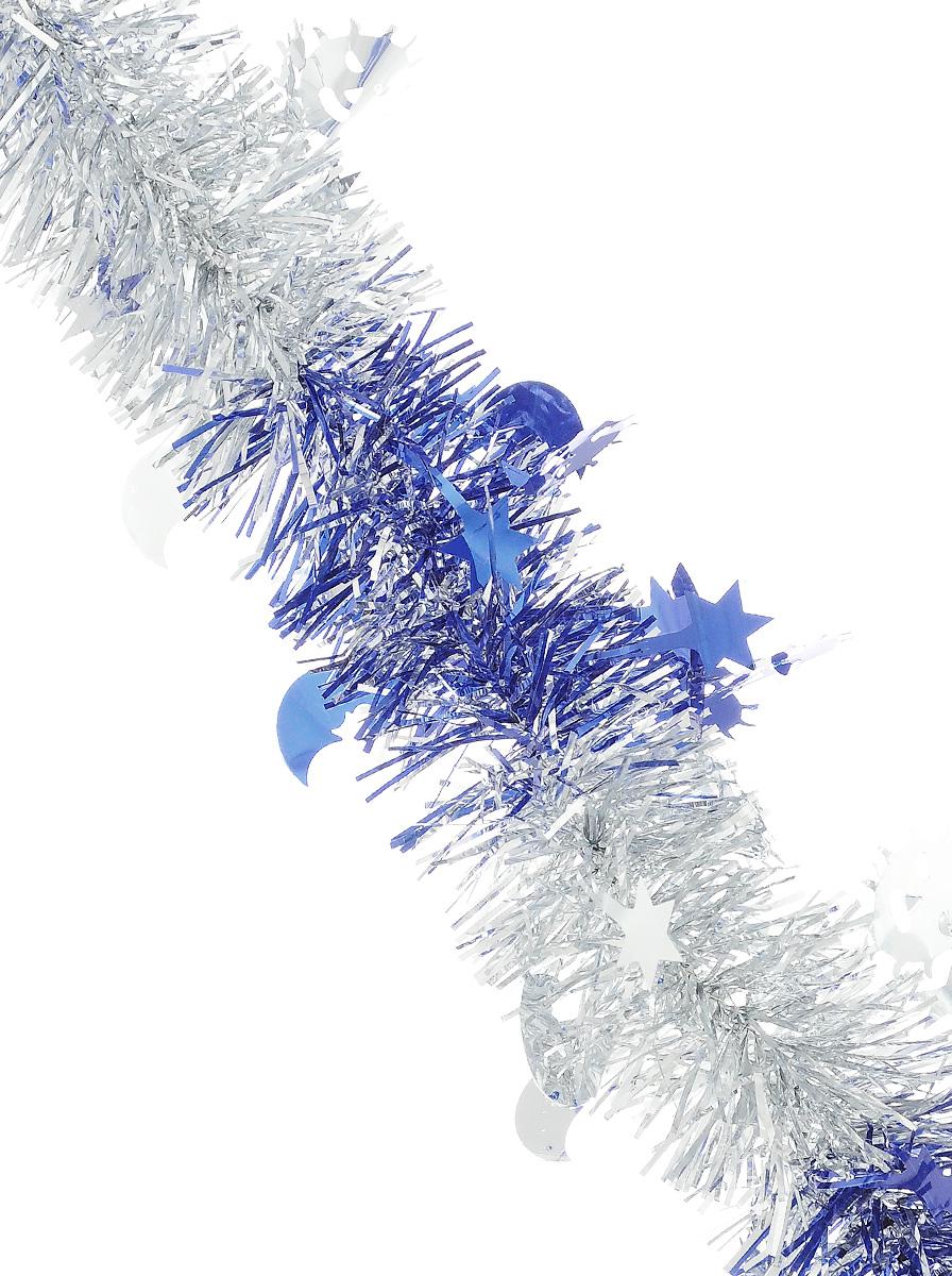 Мишура новогодняя Sima-land, цвет: серебристый, синий, диаметр 5 см, длина 200 см. 702608HZ23-0442S_серебристыйМишура новогодняя Sima-land, выполненная из двухцветной фольги, поможет вам украсить свой дом к предстоящим праздникам. Мишура армирована, то есть имеет проволоку внутри и способна сохранять приданную ей форму. Изделие дополнено фигурками месяца, солнца и звезд. Новогодней мишурой можно украсить все, что угодно - елку, квартиру, дачу, офис - как внутри, так и снаружи. Можно сложить новогодние поздравления, буквы и цифры, мишурой можно украсить и дополнить гирлянды, можно выделить дверные колонны, оплести дверные проемы. Коллекция декоративных украшений из серии Зимнее волшебство принесет в ваш дом ни с чем несравнимое ощущение праздника! Создайте в своем доме атмосферу тепла, веселья и радости, украшая его всей семьей.