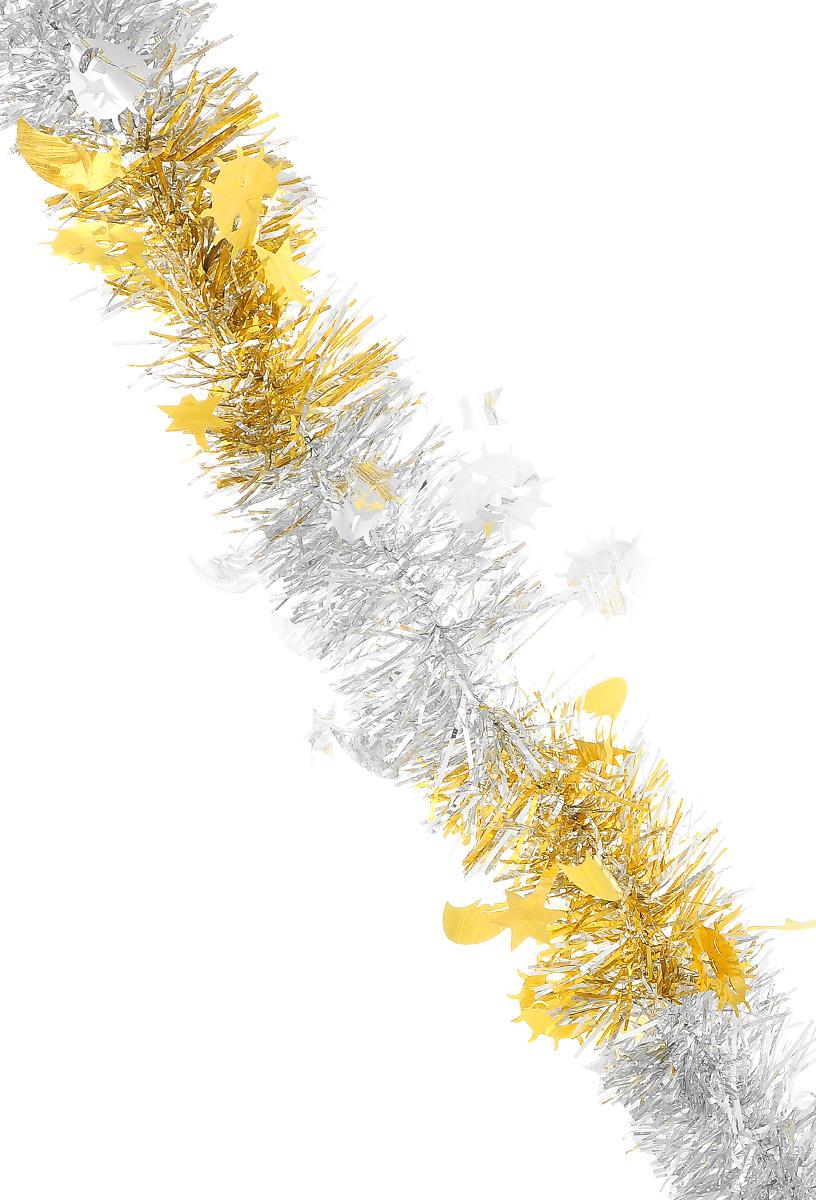 Мишура новогодняя Sima-land, цвет: серебристый, золотистый, диаметр 5 см, длина 200 см. 702608C0042416Мишура новогодняя Sima-land, выполненная из двухцветной фольги, поможет вам украсить свой дом к предстоящим праздникам. Мишура армирована, то есть имеет проволоку внутри и способна сохранять приданную ей форму. Изделие дополнено фигурками месяца, солнца и звезд. Новогодней мишурой можно украсить все, что угодно - елку, квартиру, дачу, офис - как внутри, так и снаружи. Можно сложить новогодние поздравления, буквы и цифры, мишурой можно украсить и дополнить гирлянды, можно выделить дверные колонны, оплести дверные проемы. Коллекция декоративных украшений из серии Зимнее волшебство принесет в ваш дом ни с чем несравнимое ощущение праздника! Создайте в своем доме атмосферу тепла, веселья и радости, украшая его всей семьей.
