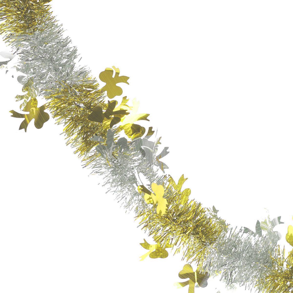Мишура новогодняя Sima-land, цвет: серебристый, золотистый, диаметр 5 см, длина 200 см. 702605NLED-454-9W-BKМишура новогодняя Sima-land, выполненная из двухцветной фольги, поможет вам украсить свой дом к предстоящим праздникам. Мишура армирована, то есть имеет проволоку внутри и способна сохранять приданную ей форму.Новогодняя елка с таким украшением станет еще наряднее. Новогодней мишурой можно украсить все, что угодно - елку, квартиру, дачу, офис - как внутри, так и снаружи. Можно сложить новогодние поздравления, буквы и цифры, мишурой можно украсить и дополнить гирлянды, можно выделить дверные колонны, оплести дверные проемы. Коллекция декоративных украшений из серии Зимнее волшебство принесет в ваш дом ни с чем несравнимое ощущение праздника! Создайте в своем доме атмосферу тепла, веселья и радости, украшая его всей семьей.