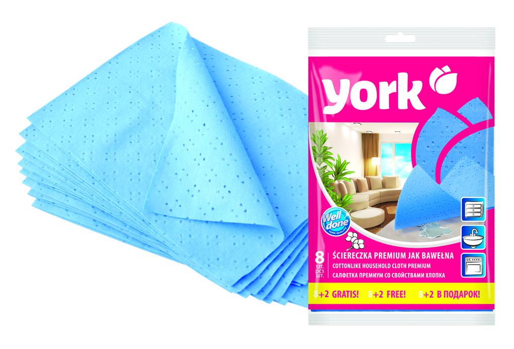 Салфетка York Премиум, впитывающая, 35 х 50 см, 10 штS03201005Салфетка York Премиум предназначена для очистки любых поверхностей. Выполнена из высококачественной вискозы. Шелковистая на ощупь салфетка имеет отличные влаговпитывающие свойства.