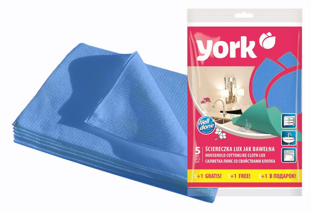 Салфетка York Люкс, влаговпитывающая, цвет: голубой, 35 см х 50 см, 6 шт531-105Салфетка York Люкс предназначена для очистки любых поверхностей. Выполнена из высококачественной вискозы. Шелковистая на ощупь салфетка имеет отличные влаговпитывающие свойства.