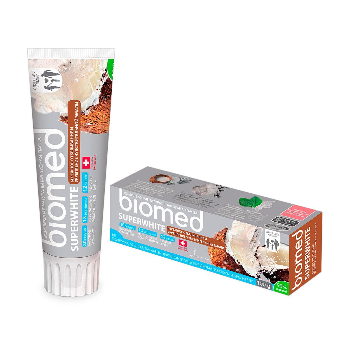 Biomed Зубная паста Superwhite / Супервайт, 100 гДК-177Бережное отбеливание и укрепление чувствительной эмали с маслом кокоса. Особенности состава: Не содержит: SLS, фтор, хим. отбеливающие компоненты, синтетические ароматизаторы, красители и продукты животного происхождения..