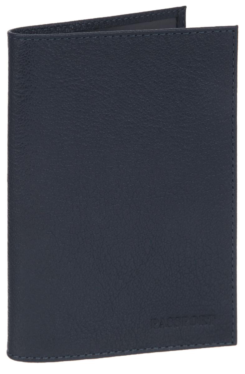 Обложка для паспорта мужская Fabula Largo, цвет: темно-синий. O.1.LGW16-12123_811Обложка для паспорта Fabula Largo выполнена из натуральной кожи с зернистой фактурой и оформлена тиснением в виде символики бренда.Изделие раскладывается пополам. Внутри размещены два накладных кармашка из прозрачного ПВХ.Изделие поставляется в фирменной упаковке.Стильная обложка для паспорта Fabula Largo станет отличным подарком для человека, ценящего качественные и практичные вещи.