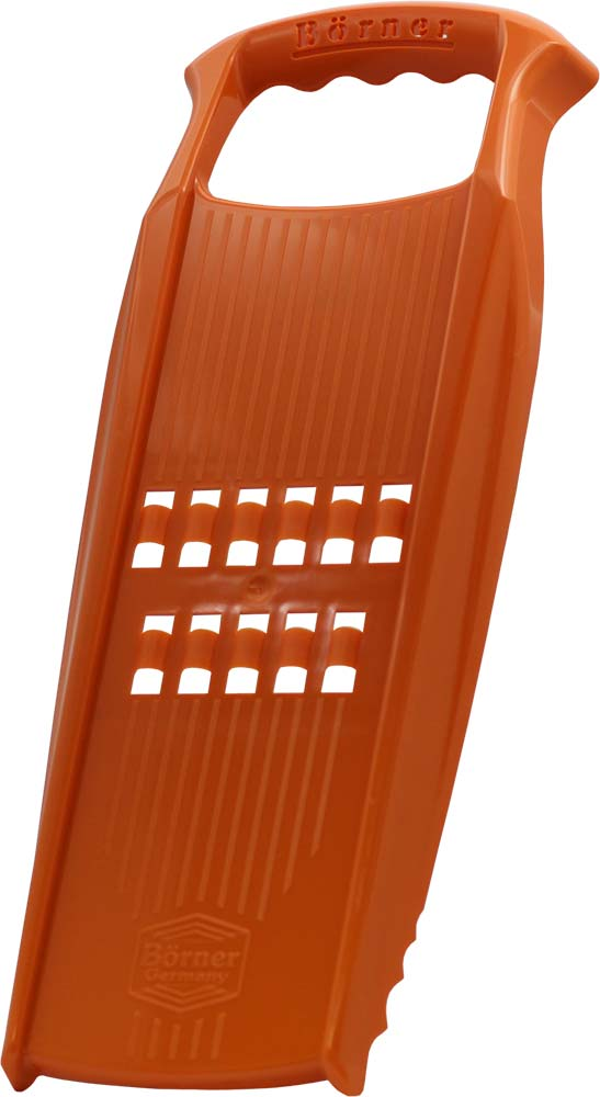 Рести-терка Borner Prima, цвет: оранжевый3520554Рести-терка Borner Prima изготовлена из высококачественного пищевого пластика. Терка нарезает тонкую плоскую стружку-лапшу, именно такую, которая нужна для приготовления картофельных драников. Это блюдо также называется Рести по-швейцарски. Кроме того, очень важно, что у рести-терки нет металлических лезвий, и вареные овощи не прилипают к ней. Именно поэтому она делает великолепную нарезку для селедки под шубой и сырную стружку. Овощи нарезаются настолько тонко, что мгновенно пропитываются майонезом или запекаются.