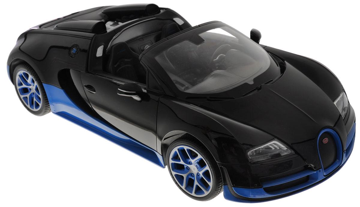 """Радиоуправляемая модель Rastar """"Bugatti Veyron 16.4 Grand Sport Vitesse"""" станет отличным подарком любому мальчику! Все дети хотят иметь в наборе своих игрушек ослепительные, невероятные и крутые автомобили на радиоуправлении. Тем более, если это автомобиль известной марки с проработкой всех деталей, удивляющий приятным качеством и видом. Одной из таких моделей является автомобиль на радиоуправлении Rastar """"Bugatti Veyron 16.4 Grand Sport Vitesse"""". Это точная копия настоящего авто в масштабе 1:14. Авто обладает неповторимым провокационным стилем и спортивным характером. Потрясающая маневренность, динамика и покладистость - отличительные качества этой модели. Возможные движения: вперед, назад, вправо, влево, остановка. Имеются световые эффекты. Пульт управления работает на частоте 27 MHz. Для работы игрушки необходимы 5 батареек типа АА (не входят в комплект). Для работы пульта управления необходима 1 батарейка 9V (6F22) (не входит в комплект)."""