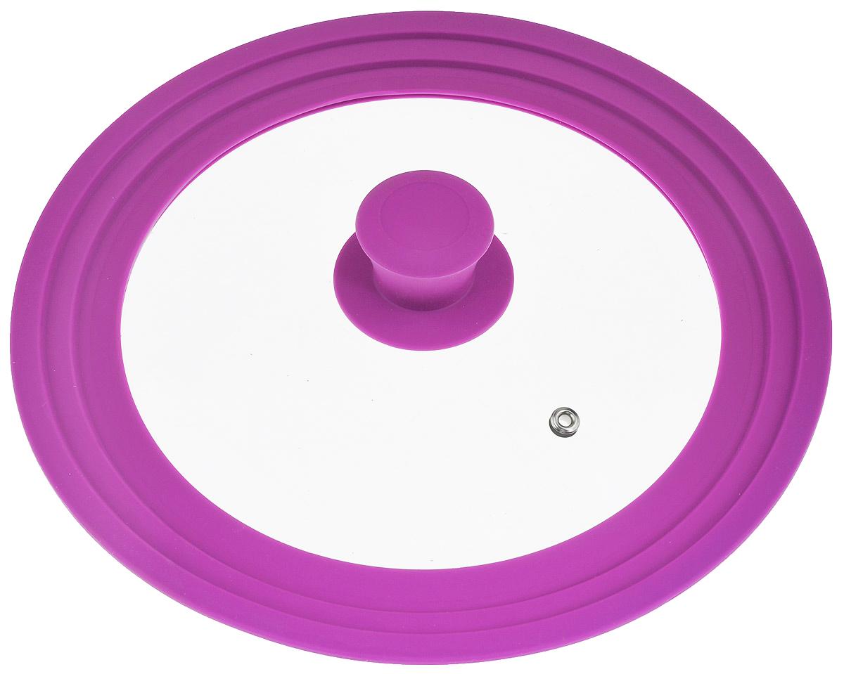 Крышка универсальная Miolla, цвет: фиолетовый, для сковород и кастрюль диаметром 22, 24, 26 см54 009312Крышка Miolla подходит в качестве универсальной крышки к сковородам и кастрюлям диаметром 22, 24 и 26 см. Изготовлена из термостойкого стекла толщиной 4 мм. Ручка и ободок выполнены из жаропрочного пищевого силикона, который выдерживает температуру до +200°C. Имеется отверстие для выхода пара. Можно использовать в духовке (до 180°C).Можно мыть в посудомоечной машине.