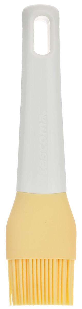 Кисточка кулинарная Tescoma Delicia, цвет: желтый, длина 17 см40970Кисточка кулинарная Tescoma Delicia изготовлена из высококачественного пищевого силикона, который способен выдержать высокие температуры. Идеально подходит для посуды с антипригарным, керамическим и тефлоновым покрытием. Высокая теплоустойчивость силикона позволяет кисточке соприкасаться с нагретыми до высоких температур поверхностями. С помощью такого аксессуара вы сможете равномерно смазать противень или сковороду маслом, нанести глазурь или масло на выпечку. Кулинарная кисточка Tescoma Delicia станет прекрасным дополнением к коллекции ваших кухонных аксессуаров.Размер рабочей поверхности: 4 см х 2,5 см. Длина кисточки: 17 см.