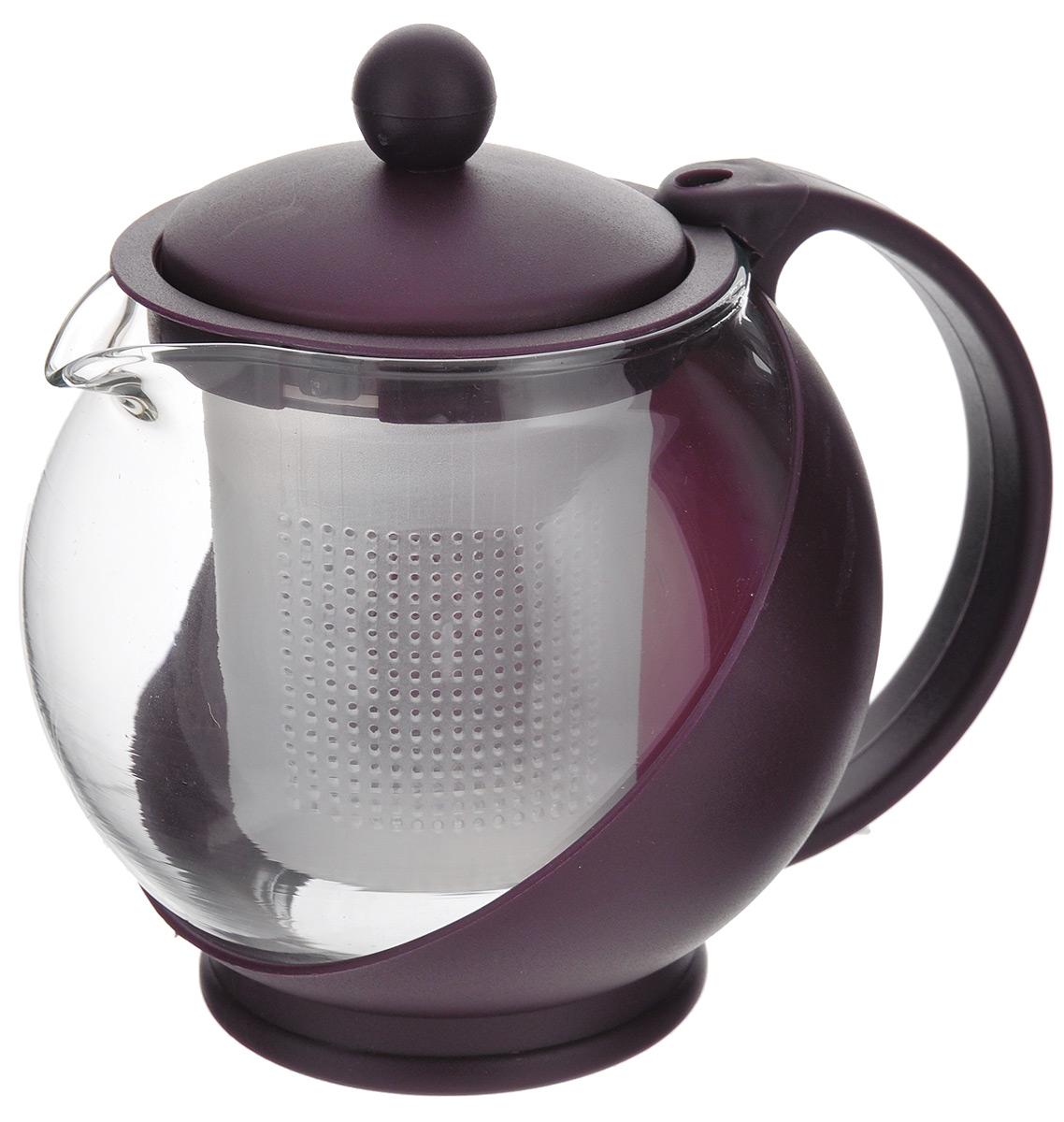 Чайник заварочный Miolla, с фильтром, цвет: вишневый, 500 мл. DHA020P/A54 009303Заварочный чайник Miolla изготовлен из жаропрочного стекла и термостойкого пластика. Чай в таком чайнике дольше остается горячим, а полезные и ароматические вещества полностью сохраняются в напитке. Чайник оснащен фильтром и крышкой. Простой и удобный чайник поможет вам приготовить крепкий, ароматный чай. Разборная конструкция обеспечивает легкий уход. Можно мыть в посудомоечной машине. Не использовать в микроволновой печи.Диаметр чайника (по верхнему краю): 6,2 см.Высота чайника (без учета крышки): 10 см.Высота фильтра: 7,5 см.