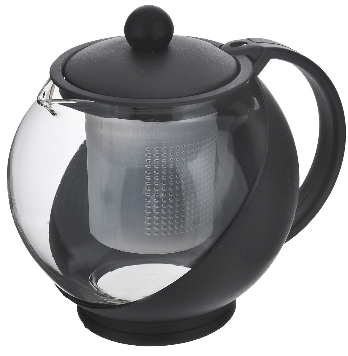 Чайник заварочный Miolla, с фильтром, цвет: черный, прозрачный, 750 мл. DHA021P/AFS-91909Заварочный чайник Miolla изготовлен из жаропрочного стекла и термостойкого пластика. Чай в таком чайнике дольше остается горячим, а полезные и ароматические вещества полностью сохраняются в напитке. Чайник оснащен фильтром и крышкой. Простой и удобный чайник поможет вам приготовить крепкий, ароматный чай. Нельзя мыть в посудомоечной машине. Не использовать в микроволновой печи.Диаметр чайника (по верхнему краю): 7 см.Высота чайника (без учета крышки): 11,5 см.Высота фильтра: 7,5 см.