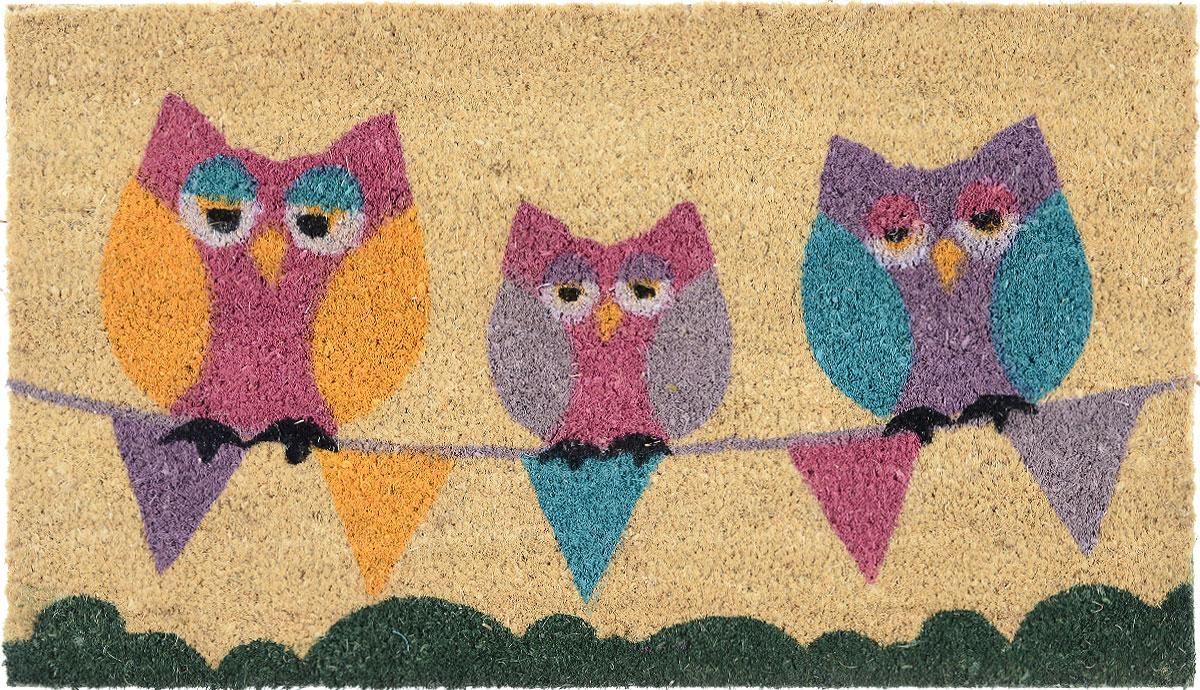 Коврик придверный Gardman Sleepy Owls, 40 см х 70 см54 009303Придверный коврик Gardman Sleepy Owls, изготовленный из кокосового волокна с основой из ПВХ, имеет жесткий ворс. Коврик оформлен забавным изображением совят. Его можно использовать отдельно либо с рамкой на резиновой основе для сменных ковриков. Устойчив к любым погодным условиям. Отличается прочностью и долгим сроком службы.Такой коврик прекрасно дополнит интерьер прихожей и надежно защитит помещение от уличной пыли и грязи.