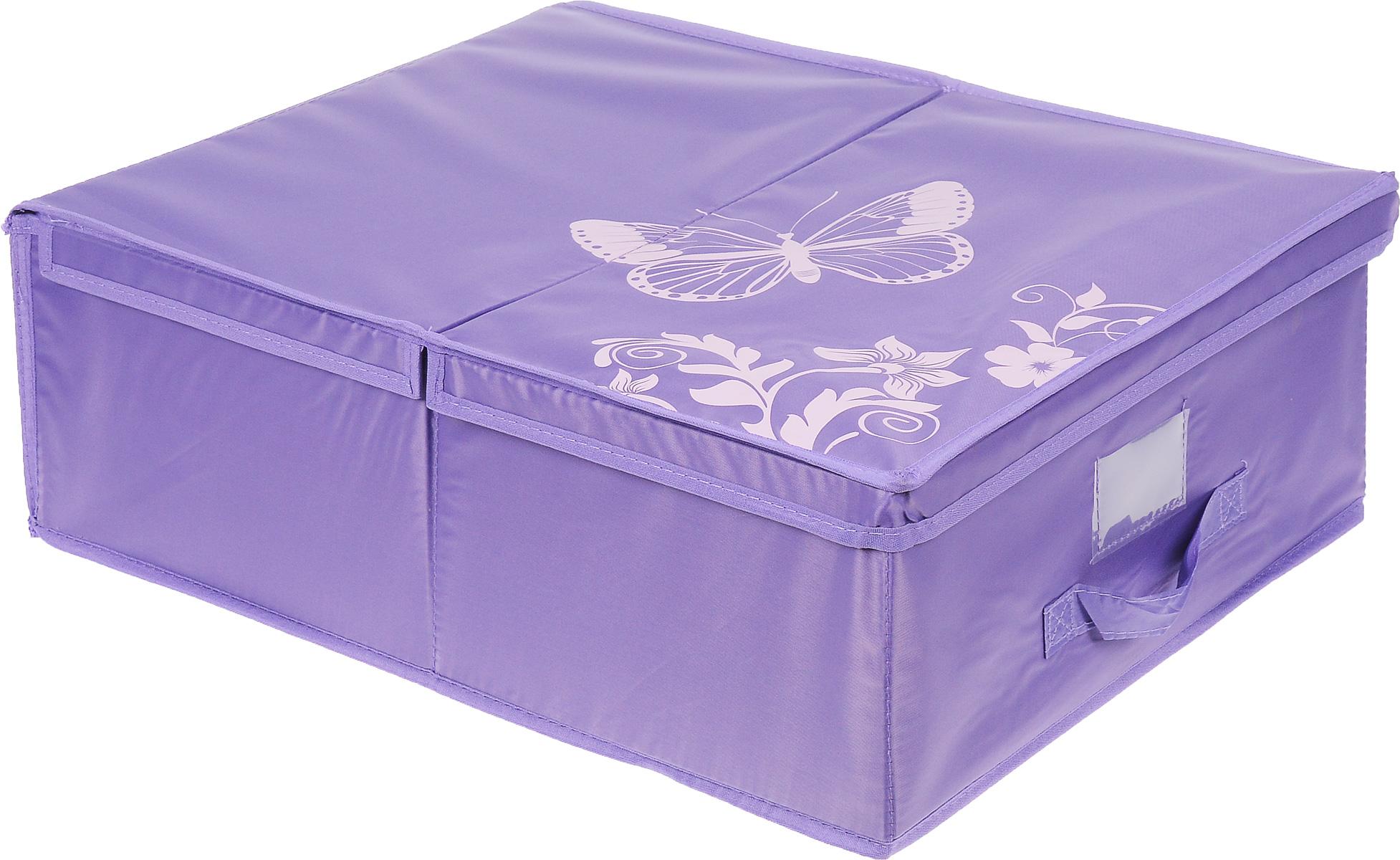 Кофр подкроватный Hausmann Butterfly, цвет: фиолетовый, 43 см х 54 см х 18 смS03301004Подкроватный кофр для хранения Hausmann Butterfly поможет легко организовать пространство в шкафу или в гардеробе, компактные формы позволяют хранить его под кроватью. Изделие выполнено из нетканого материала и полиэстера с защитой от пыли. Кофр держит форму благодаря жесткой вставке из картона, которая устанавливается на дно. Боковая поверхность оформлена красивым принтом. Имеется ручка, крышка и прозрачный карман для пометки содержимого. В таком кофре удобно хранить одежду, текстиль и различные аксессуары.