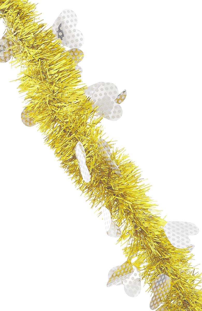 Мишура новогодняя Sima-land, цвет: желтый, серебристый, диаметр 6 см, длина 2 м. 82597641668Новогодняя мишура Sima-land, выполненная из фольги, поможет вам украсить свой дом к предстоящим праздникам. Новогодняя елка с таким украшением станет еще наряднее. Новогодней мишурой можно украсить все, что угодно - елку, квартиру, дачу, офис - как внутри, так и снаружи. Можно сложить новогодние поздравления, буквы и цифры, мишурой можно украсить и дополнить гирлянды, можно выделить дверные колонны, оплести дверные проемы.