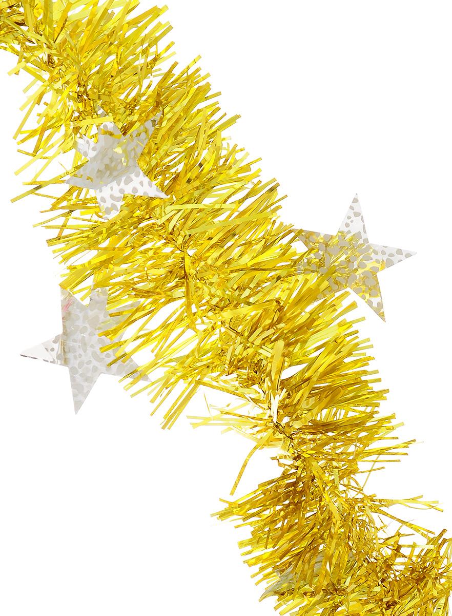 Мишура новогодняя Sima-land, цвет: желтый, серебристый, диаметр 9 см, длина 2 м. 82598338718/75090Новогодняя мишура Sima-land, выполненная из ПЭТ (полиэтилентерефталат), поможет вам украсить свой дом к предстоящим праздникам. Изделие декорировано звездами. Новогодняя елка с таким украшением станет еще наряднее. Мишура армирована, то есть имеет проволоку внутри и способна сохранять форму. Новогодней мишурой можно украсить все, что угодно - елку, квартиру, дачу, офис - как внутри, так и снаружи. Можно сложить новогодние поздравления, буквы и цифры, мишурой можно украсить и дополнить гирлянды, можно выделить дверные колонны, оплести дверные проемы. Коллекция декоративных украшений из серии Magic Time принесет в ваш дом ни с чем не сравнимое ощущение волшебства! Создайте в своем доме атмосферу тепла, веселья и радости, украшая его всей семьей.