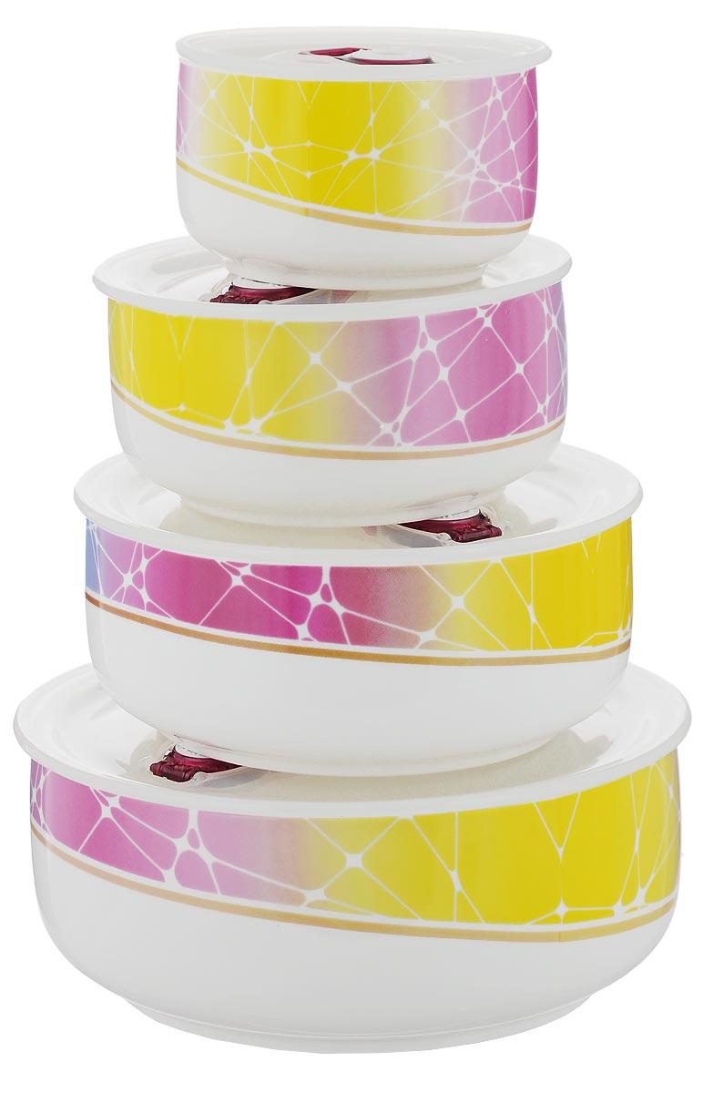Набор контейнеров для хранения продуктов Darsto Радуга, 4 штVT-1520(SR)Набор Darsto Радуга состоит из 4 контейнеров разного объема, выполненных из высококачественного фарфора. Контейнеры оснащены вакуумными крышками с силиконовыми вставками, которые плотно закрываются, тем самым дольше сохраняя пищу вкусной и свежей. Уникальная технология ClipFresh обеспечивает 100% герметичность и исключает вытекание жидкости. Эстетичность и необыкновенная функциональность набора Darsto Радуга позволит ему стать достойным дополнением к вашему кухонному инвентарю. Внутренняя часть коробки украшена желтым атласом, и каждый предмет надежно закреплен.Подходят для использования в микроволновой печи и в посудомоечной машине. Объем контейнеров: 310 мл; 540 мл; 800 мл; 1,5 л. Диаметр контейнеров (по верхнему краю): 10 см; 12,5 см; 15 см; 18 см.Высота контейнеров: 6,5 см; 6,5 см: 6,5 см; 7,5 см.