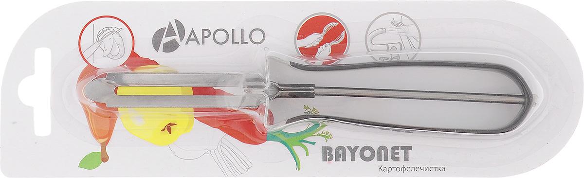 Картофелечистка Apollo Bayonet, цвет: черныйBOT-01_чернКартофелечистка Bayonet предназначена для аккуратного удаления кожуры с овощей и фруктов. Изделие выполнено из высококачественной нержавеющей стали. Ручка имеет противоскользящее покрытие.Общая длина картофелечистки: 15 см.Длина рабочей части: 6 см.