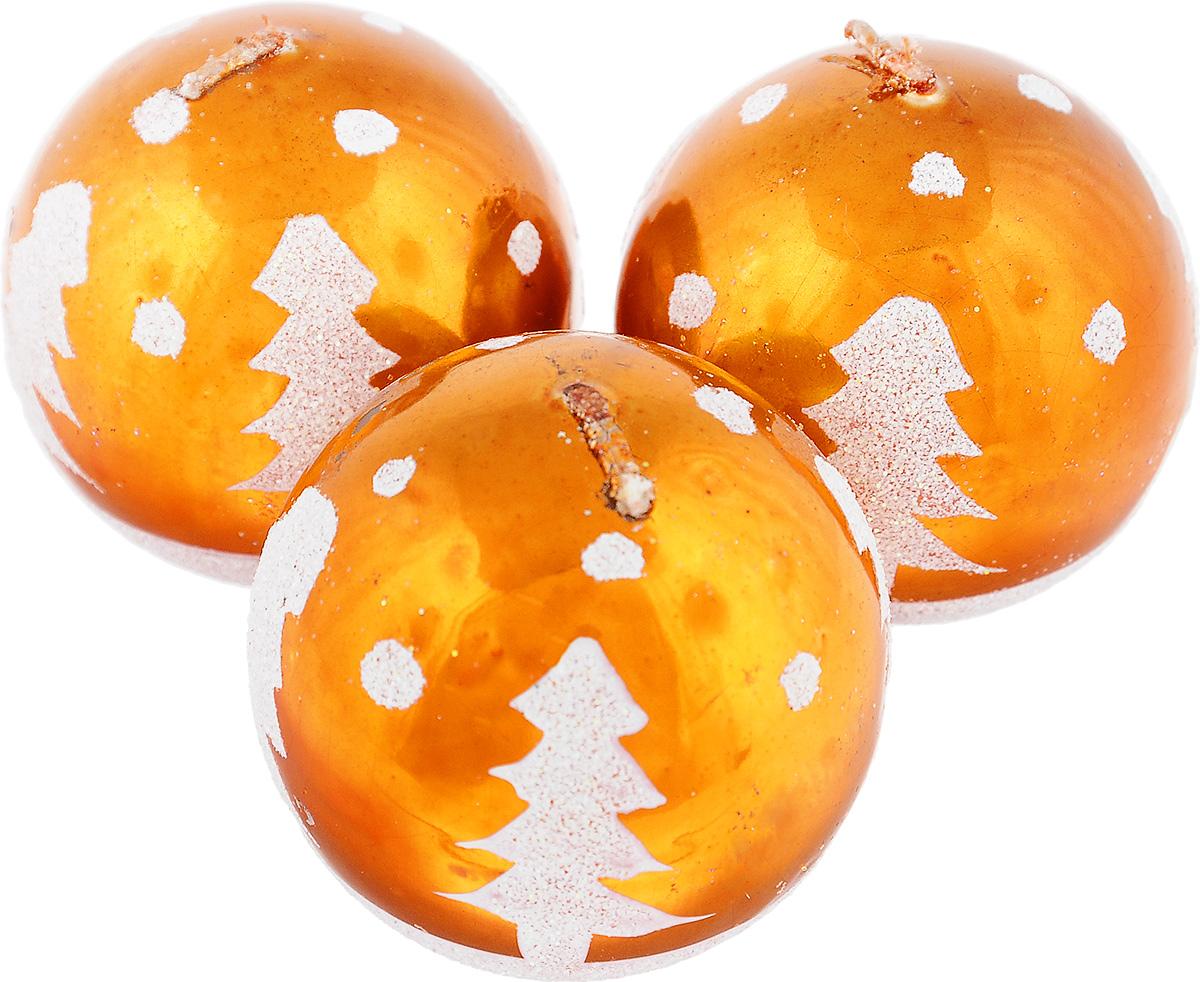 Набор свечей Winter Wings Шар, цвет: оранжевый, диаметр 5 см, 3 штU210DFНабор Winter Wings Шар состоит из трех свечей в виде елочных шаров, оформленных блестками и изображением елок. Свечи, выполненные из парафина, располагаются на пластиковой подставке. Такие свечи создадут атмосферу таинственности и загадочности и наполнят ваш дом волшебством и ощущением праздника. Хороший сувенир для друзей и близких.