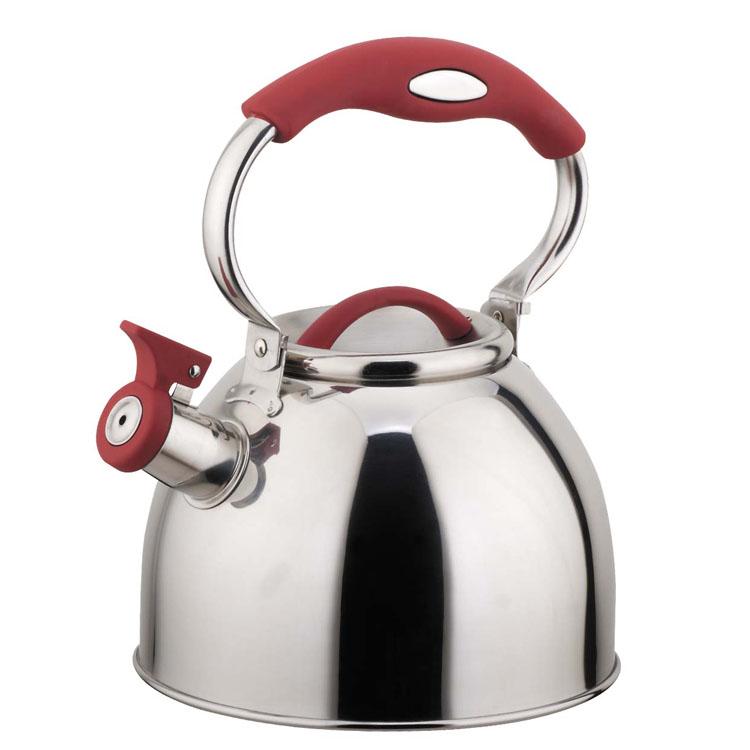 Чайник Mayer & Boch, со свистком, цвет:вишневый, 3 лVT-1520(SR)Чайник Mayer & Boch выполнен из высококачественной нержавеющей стали, что делаетего весьма гигиеничным и устойчивым к износу при длительном использовании. Носик чайникаоснащен насадкой-свистком, что позволит вам контролировать процесс подогрева иликипяченияводы. Подвижная ручка, выполненная из нейлона, дает дополнительное удобствопри наливании напитка.Поверхность чайника гладкая, что облегчает уход за ним. Эстетичный и функциональный, с эксклюзивным дизайном, чайник будет оригинальносмотретьсяв любом интерьере.Подходит для всех типов плит, включая индукционные. Можно мыть в посудомоечной машине.Высота чайника (без учета ручки и крышки): 14,5 см.Высота чайника (с учетом ручки и крышки): 25 см.Диаметр чайника (по верхнему краю): 10,5 см.