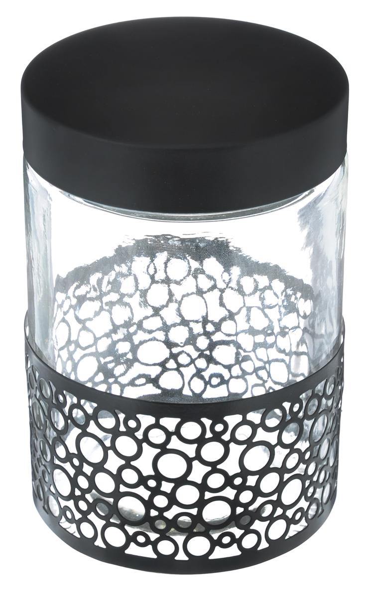 Банка для сыпучих продуктов Bohmann Орнамент, цвет: прозрачный, черный, 1,3 лVT-1520(SR)Банка для сыпучих продуктов Bohmann Орнамент изготовлена из прочного прозрачного стекла. Емкость снабжена металлической крышкой, которая плотно и герметично закрывается, дольше сохраняя аромат и свежесть содержимого. Банка декорирована металлическим ободом в виде орнамента. Изделие предназначено для хранения различных сыпучих продуктов: круп, чая, сахара, орехов и многого другого.Функциональная и вместительная, такая банка станет незаменимым аксессуаром на любой кухне. Диаметр (по верхнему краю): 10 см.Высота (без учета крышки): 17 см.