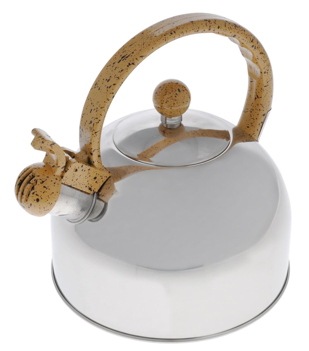 Чайник Bekker Koch, со свистком, 2,5 л. 35181125317Чайник Bekker Koch изготовлен из высококачественной нержавеющей стали. Нержавеющая сталь - материал, из которого в течение нескольких десятилетий во всем мире производятся столовые приборы, кухонные инструменты и различные аксессуары. Этот материал обладает высокой стойкостью к коррозии и кислотам. Прочность, долговечность и надежность этого материала, а также первоклассная обработка обеспечивают практически неограниченный запас прочности и неизменно привлекательный внешний вид. Капсулированное дно позволяет изделию быстро нагреваться и дольше сохранять тепло. Чайник оснащен фиксированной пластиковой ручкой, что предотвращает появление ожогов и обеспечивает безопасность использования. Носик чайника имеет откидной свисток, который подскажет, когда вода закипела. Подходит для газовых, электрических и стеклокерамических плит. Не подходит для индукционных плит. Можно мыть в посудомоечной машине.Высота чайника (без учета ручки и крышки): 13,5 см.Высота чайника (с учетом ручки): 21,5 см.Диаметр чайника (по верхнему краю): 8,6 см.Толщина стенки: 0,33 мм.Толщина дна: 1 мм.