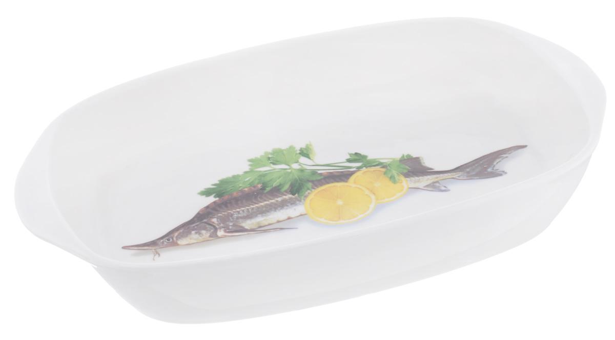 Шубница Elan Gallery Осетр, 900 млVT-1520(SR)Шубница Elan Gallery Осетр это идеальное блюдо для сервировки традиционного салата Сельдь под шубой или любого другого слоеного салата. Компактное, аккуратное блюдо оснащено двумя ручками для удобной переноски и декорировано изображением рыбы, лимона и зелени. Оригинальный дизайн и эстетичность впишется в любой интерьер кухни и станет незаменимым при любом событии.Объем: 900 мл.Размер изделия (с учетом ручек): 28 см х 17,5 см х 4 см.