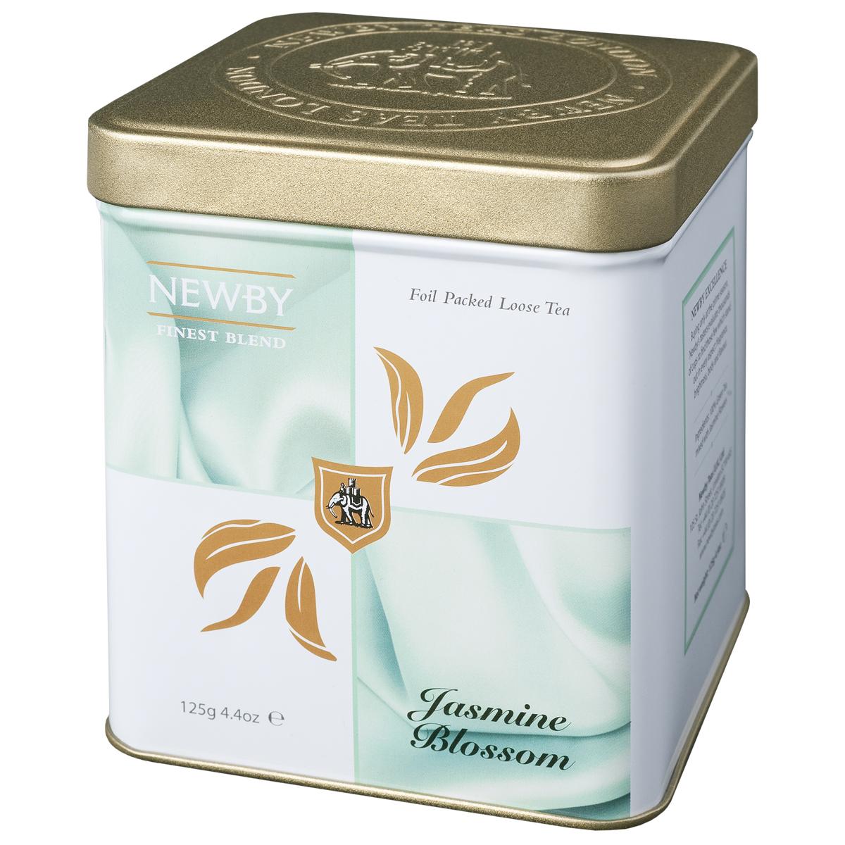 Newby Jasmine Blossom зеленый листовой чай, 125 г0120710Китайский листовой чай Newby Jasmine Blossom с ароматом цветов жасмина. Имеет светло-медовый оттенок и ароматное цветочное послевкусие.
