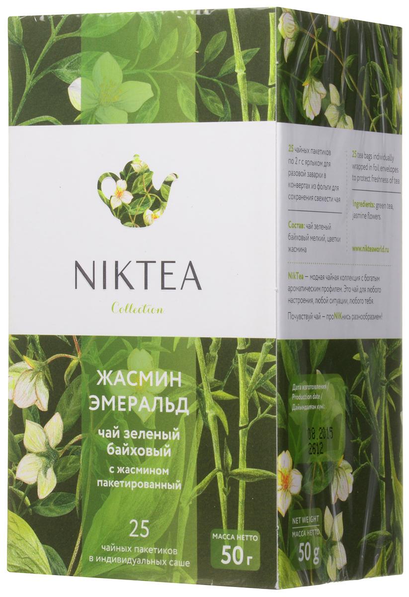 Niktea Jasmine Emerald чай зеленый в пакетиках, 25 шт0120710Niktea Jasmine Emerald - воздушный зеленый чай с белоснежными лепестками летнего жасмина и элегантным чувственным ароматом. Полезен благодаря содержанию эфирных масел.Коллекция NikTea разработана командой экспертов, имеющих богатый опыт в чайной индустрии. Во время ее создания выбирались самые надежные поставщики из Европы и стран происхождения чая, а в линейку включили не только топовые аутентичные позиции, но и новые интересные рецептуры в традициях современной чайной миксологии.NikTea - это действительно качественный чай. Для истинных ценителей мы предлагаем безупречное качество: отборное сырье, фасовку на высокотехнологичном производственном комплексе в России, постоянный педантичный контроль готового продукта, а также сертификацию сырья по международным стандартам.NikTea - это разнообразие. В линейках листового и пакетированного чаяпредставлены все основные группы вкусов - от классического черного и зеленого чая до ароматизированных, фруктовых и травяных композиций.NikTea - это стиль. Необычная упаковка с модным авторским дизайном создает яркий и запоминающийся стиль, а интересные коктейльные рецептуры дают возможность экспериментировать со вкусами.Фильтр-бумага для пакетированного чая NikTea поставляется одним из мировых лидеров по производству специальных высококачественных бумаг - компанией Glatfelter. Чайная фильтровальная бумага Glatfelter представляет собой специально разработанный микс из натурального волокна абаки и целлюлозы. Такая фильтр-бумага обеспечивает быструю и качественную экстракцию чая, но в то же самое время не пропускает даже самые мелкие частицы чайного листа в настой. В результате вы получаете превосходный цвет, богатый вкус и насыщенный аромат чая.