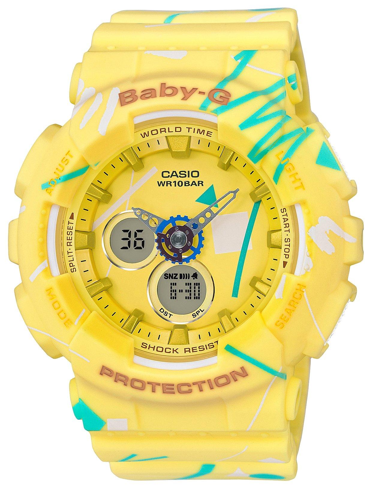 Часы наручные женские Casio Baby-G, цвет: желтый, бирюзовый. BA-120SC-9ABM8434-58AEЖенские наручные часы Casio Baby-G с кварцевым и электронным механизмом. Ремешок и корпус выполнены из полимера.