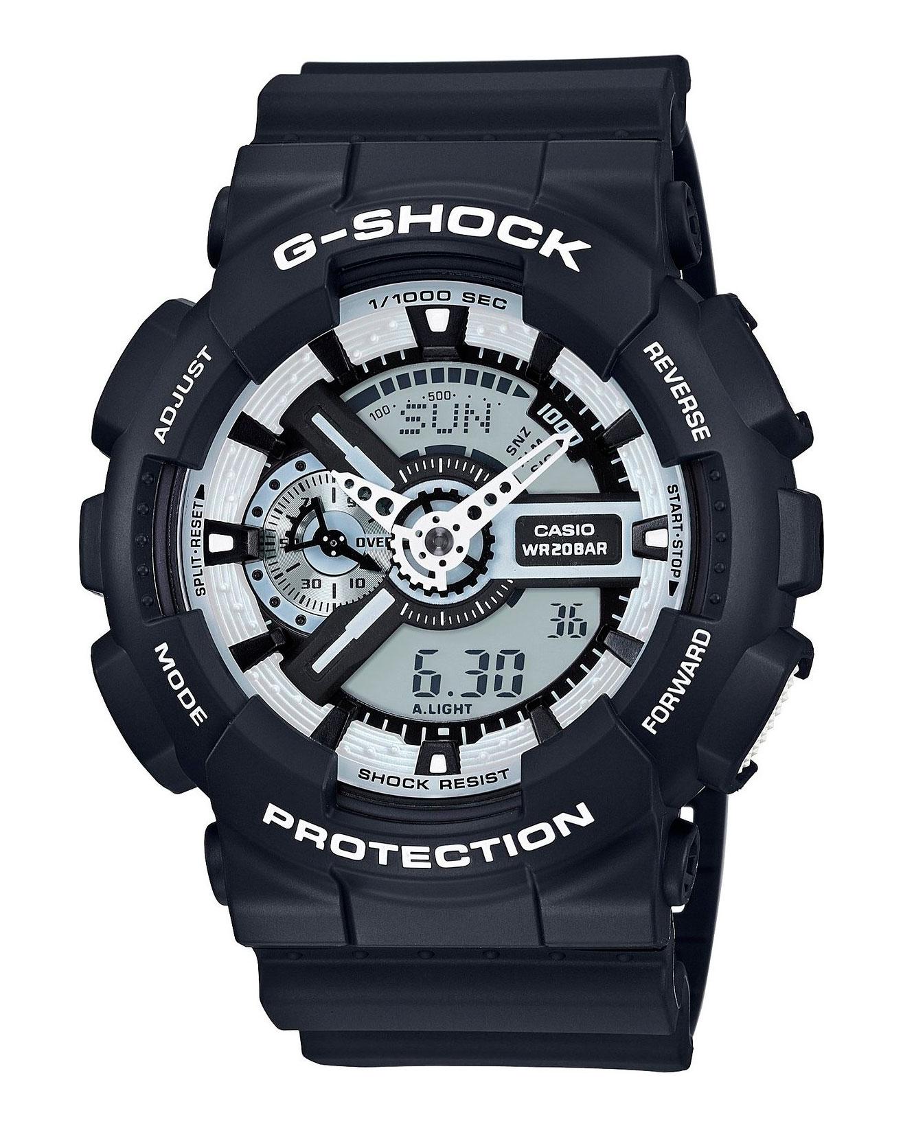 Часы наручные мужские Casio G-Shock, цвет: черный, белый. GA-110BW-1A8-2Многофункциональные мужские часы Casio G-Shock, выполнены из минерального стекла, металлического сплава и полимерного материала. Корпус часов оформлен символикой бренда.Часы оснащены ударопрочным корпусом с электронно-механическим механизмом, имеют степень влагозащиты равную 20 atm, а также дополнены устойчивым к царапинам минеральным стеклом.Браслет часов оснащен застежкой-пряжкой, которая позволит с легкостью снимать и надевать изделие. Корпус часов дополнен мощной светодиодной подсветкой.Дополнительные функции: таймер, будильник, функция повтора будильника, секундомер, функция мирового времени, автоматический календарь, отображение времени в 12-часовом или 24-часовом формате, функция отображения средней скорости пройденного маршрута.Часы поставляются в фирменной упаковке.Многофункциональные часы Casio G-Shock подчеркнут отменное чувство стиля своего обладателя.