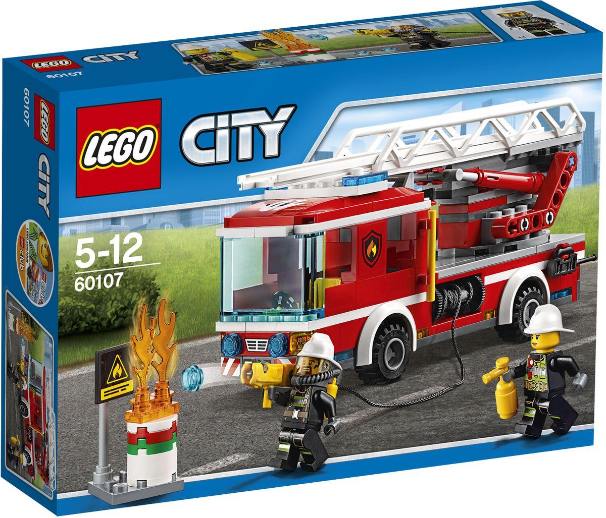LEGO City Конструктор Пожарный автомобиль с лестницей 60107 lego city конструктор внедорожник каскадера 60146
