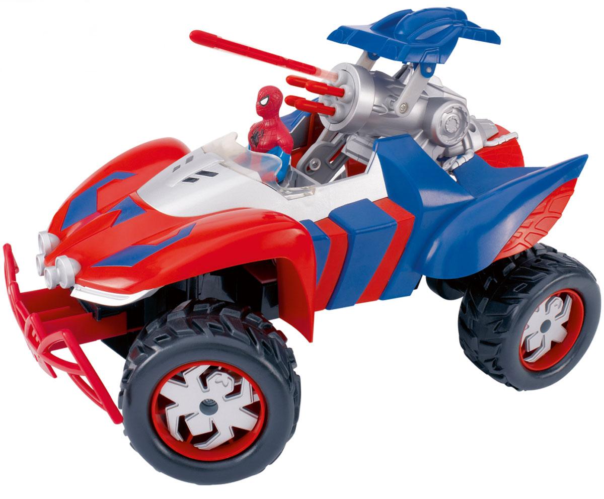 """Машинка на радиоуправлении Majorette """"Ultimate Spider-Man"""" выполнена в виде мощного внедорожника супергероя с его фигуркой на водительском месте. Машинка оснащена боевой пушкой, выстреливающей пятью ракетами. Возможность наклона колес, которой обладает эта машина, позволяет транспортному средству Человека-Паука исполнить поворот любой сложности. С помощью пульта дистанционного управления, стилизованного в соответствующей тематике, машина может двигаться вперед и назад, поворачивать направо и налево, останавливаться. Машинка на радиоуправлении Majorette """"Ultimate Spider-Man"""" станет отличным подарком маленькому поклоннику Человека-Паука! Пульт управления работает на частоте 27 MHz. Для работы игрушки необходимы 6 батареек типа АА (не входят в комплект). Для работы пульта управления необходима 1 батарейка типа """"Крона"""" (не входит в комплект)."""