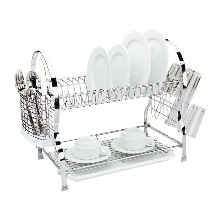 Сушилка для посуды Mayer & Boch, двухъярусная, 54 х 26 х 41 см4003Двухъярусная сушилка для посуды Mayer & Boch выполнена из хромированной нержавеющей стали и полипропилена. Изделие оснащено поддоном для стекания воды и подставками для столовых приборов и стаканов. Сушилка может быть установлена как на столе, так и подвешена на стену при помощи крючков (не входят в комплект). Размер сушилки (с учетом подставок): 54 см х 26 см х 41 см.Размер поддона: 38 см х 25 см х 2,5 см.