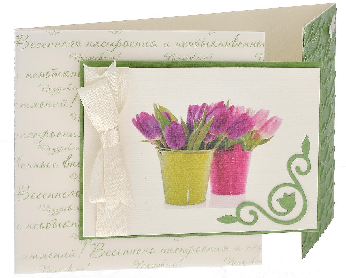 Открытка ручной работы Весенние поздравления, с конвертом. Автор Татьяна Саранчукова. A-034010120005/3Открытка ручной работы Весенние поздравления, выполненная с теплом и любовью, позволит вам оригинально дополнить подарок к 8 марта. Открытка изготовлена из дизайнерской плотной бумаги. Лицевая сторона, состоящая из двух створок, оформлена атласной лентой, накладкой с изображением тюльпанов и декоративным элементом в виде бабочки. Внутри открытка не содержит текста, что позволит вам самостоятельно написать пожелание. Также имеется вкладыш для написания поздравления. Открытка непременно порадует получателя и станет отличным напоминанием о проведенном вместе времени.В комплект входит белый конверт.Открытка упакована в пакет для сохранности. Размер открытки: 15 см х 10 см.Размер конверта: 16 см х 11,5 см.