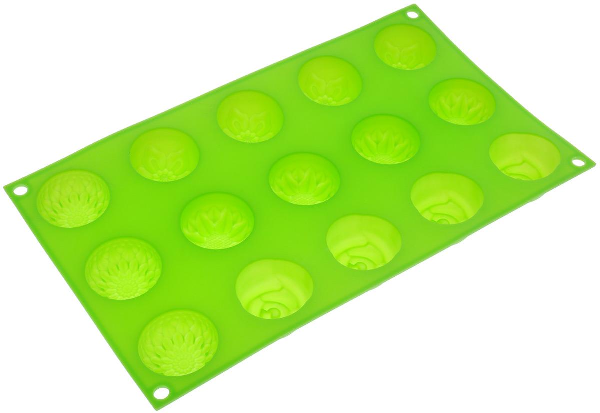 Форма для выпечки Marmiton Цветочки, цвет: салатовый, 29,5 см х 17,5 см х 2,5 см, 15 ячеек16004_салатовыйФорма для выпечки Marmiton Цветочки выполнена из силикона. На одном листе расположены 15 ячеек, выполненных в виде цветов. Благодаря тому, что форма изготовлена из силикона, готовый лед, выпечку или мармелад вынимать легко и просто.С такой формой вы всегда сможете порадовать своих близких оригинальной выпечкой.Материал устойчив к фруктовым кислотам, может быть использован в духовках, микроволновых печах и морозильных камерах (выдерживает температуру от 240°C до - 40°C). Можно мыть и сушить в посудомоечной машине.Общий размер формы: 29,5 см х 17,5 см х 2,5 см. Размер ячейки: 4 см х 4 см х 2,5 см.