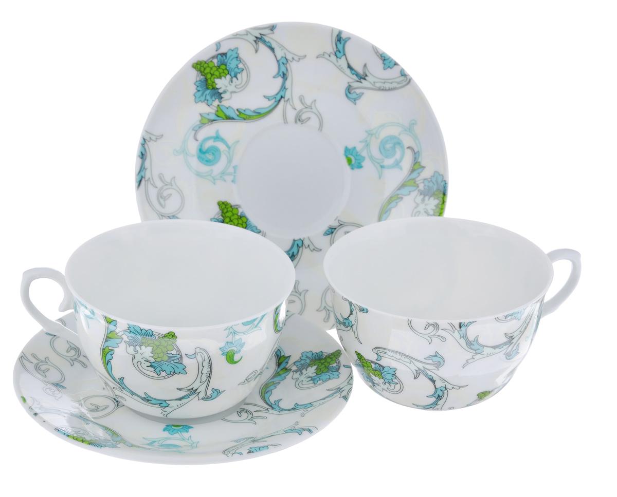 Набор чайный LarangE Рококо, 4 предмета115510Чайный набор LarangE Рококо состоит из 2 чашек и 2 блюдец. Изделия, выполненные извысококачественного фарфора, имеют элегантныйдизайн и классическую круглую форму.Такой набор прекрасно подойдет как для повседневного использования, так и дляпраздников. Чайный набор LarangE Рококо - это не только яркий и полезный подарок для родных иблизких, это также великолепное дизайнерское решение для вашей кухни илистоловой. Объем чашки: 250 мл. Диаметр чашки (по верхнему краю): 10 см. Высота чашки: 6,5 см.Диаметр блюдца (по верхнему краю): 15 см.Высота блюдца: 1,5 см.