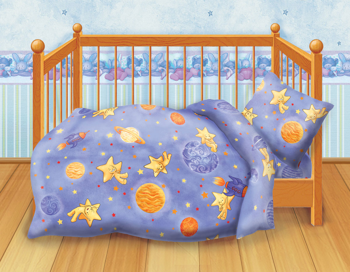 Кошки-мышки Комплект детского постельного белья Космостар286359Комплект детского постельного белья Кошки-мышки Космостар, состоящий из наволочки, простыни и пододеяльника, выполнен из натурального 100% хлопка. Пододеяльник оформлен рисунком в виде ночного неба с планетами и звездочками. Хлопок - это натуральный материал, который не раздражает даже самую нежную и чувствительную кожу малыша, не вызывает аллергии и хорошо вентилируется. Такой комплект идеально подойдет для кроватки вашего малыша. На нем ребенок будет спать здоровым и крепким сном.