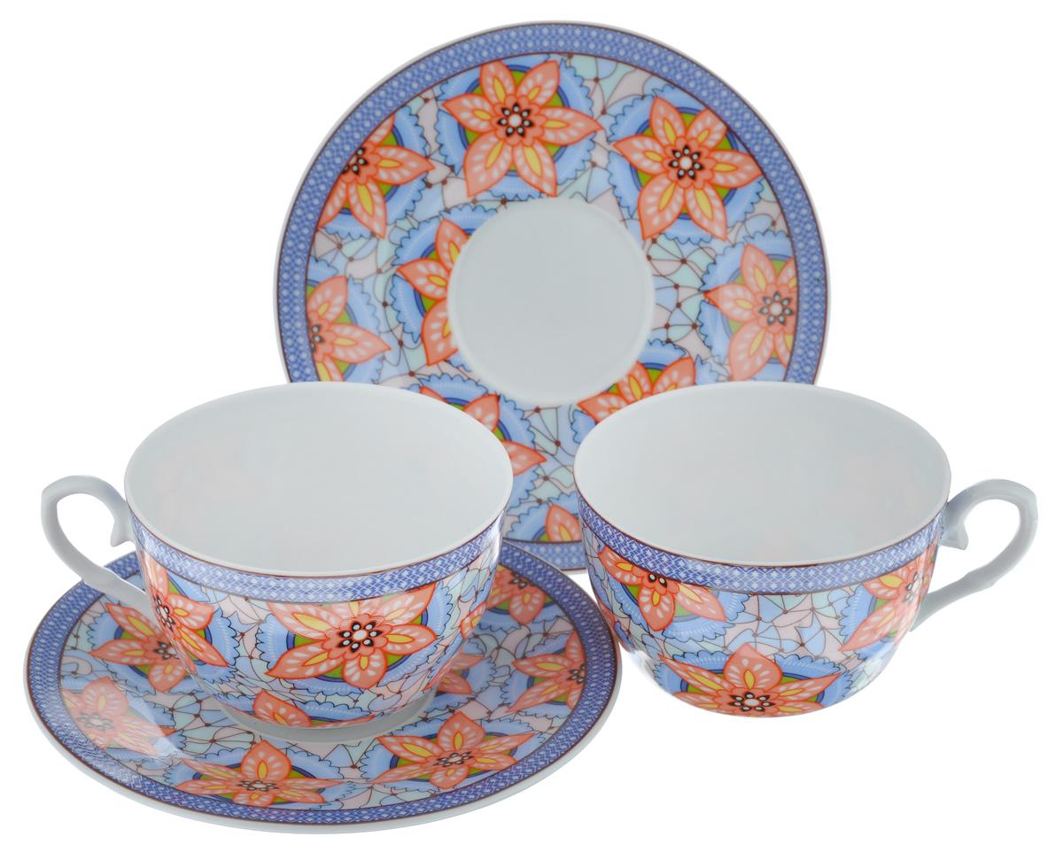 Набор чайный LarangE Витраж, 4 предметаVT-1520(SR)Чайный набор LarangE Витраж состоит из 2 чашек и 2 блюдец. Изделия, выполненные извысококачественного фарфора, имеют элегантныйдизайн и классическую круглую форму.Такой набор прекрасно подойдет как для повседневного использования, так и дляпраздников. Чайный набор LarangE Витраж - это не только яркий и полезный подарок для родных иблизких, это также великолепное дизайнерское решение для вашей кухни илистоловой. Объем чашки: 225 мл. Диаметр чашки (по верхнему краю): 9,5 см. Высота чашки: 6,5 см.Диаметр блюдца (по верхнему краю): 15 см.Высота блюдца: 1,5 см.