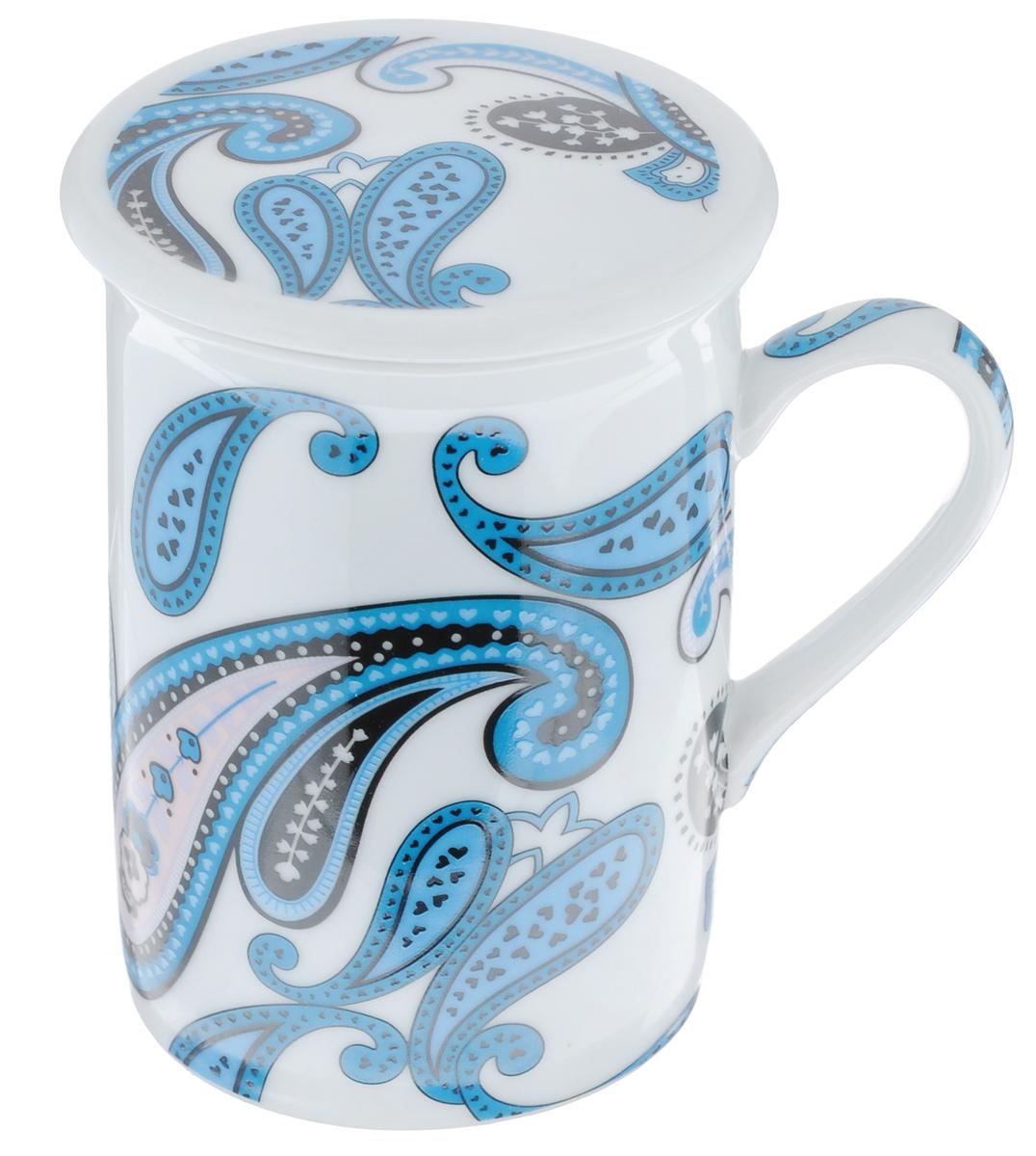 Кружка заварочная LarangE Пейсли, цвет: белый, синий, 330 млFS-91909Заварочная кружка LarangE Пейсли изготовлена из высококачественного фарфора.Внешние стенки оформлены ярким рисунком. Изделие оснащено съемнымметаллическим фильтром и фарфоровой крышкой. Заварочная кружка поможет быстро и вкусно заварить чай на одну порцию, не используязаварочный чайник.Такой набор станет хорошим подарком, а также придаст кухонному интерьеруособый колорит.Объем кружки: 330 мл. Диаметр кружки (по верхнему краю): 7,5 см.Высота стенки кружки: 10 см.Глубина ситечка: 5 см.Не рекомендуется применять абразивные моющие средства.