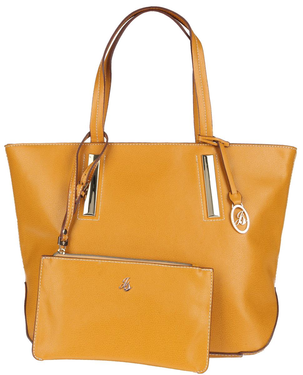 Сумка женская Jane Shilton, цвет: охра. 1900101225Стильная сумка Jane Shilton выполнена из искусственной кожи с зернистой фактурой, оформлена контрастной строчкой, подвеской и металлической фурнитурой с символикой бренда.Сумка содержит одно отделение, которое закрывается на застежку-молнию. Внутри изделия расположены карман-средник на молнии, накладной карман для телефона и врезной карман на застежке-молнии. Снаружи, в тыльной стенке сумки, размещен врезной карман на молнии. Изделие оснащено двумя практичными ручками, которые позволят носить сумку, как в руках, так и на плече.Сумка дополнена кошельком на молнии, который оснащен ремнем на запястьерегулируемой длины.Оригинальный аксессуар позволит вам завершить образ и быть неотразимой.