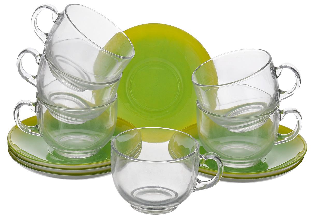 Набор чайный Luminarc Fizz Mint, 12 предметов115510Чайный набор Luminarc Fizz Mint состоит из 6 чашек и 6 блюдец. Изделия выполнены из высококачественного ударопрочного стекла, имеют яркий дизайн и классическую форму. Посуда отличается прочностью, гигиеничностью и долгим сроком службы, она устойчива к появлению царапин и резким перепадам температур. Такой набор прекрасно подойдет как для повседневного использования, так и для праздников или особенных случаев. Чайный набор Luminarc Fizz Mint - это не только яркий и полезный подарок для родных и близких, это также великолепное дизайнерское решение для вашей кухни или столовой. Изделия можно мыть в посудомоечной машине и использовать в СВЧ-печи. Объем чашки: 220 мл. Диаметр чашки (по верхнему краю): 8 см. Высота чашки: 6 см. Диаметр блюдца: 14 см.Высота блюдца: 2 см.
