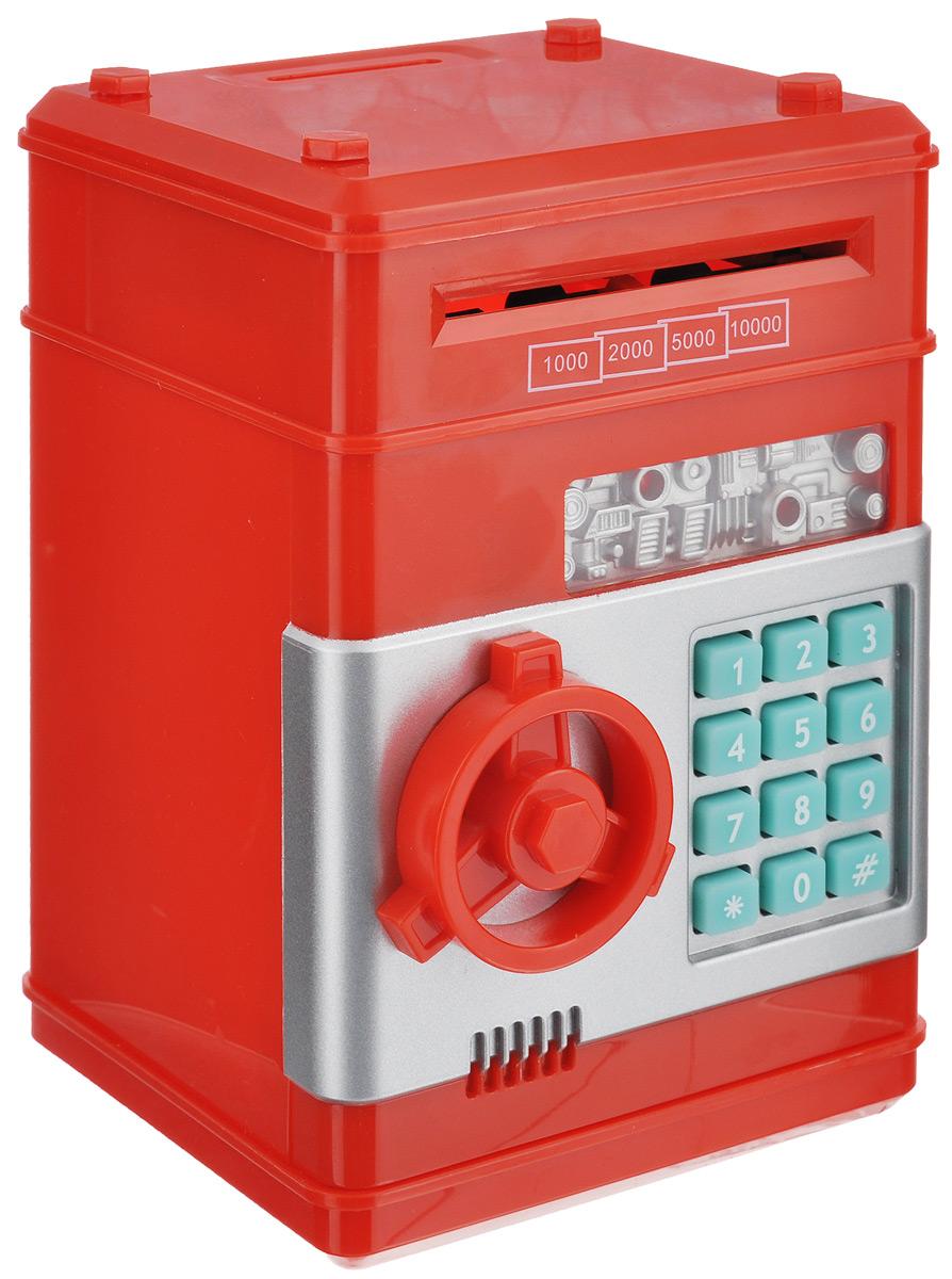 Копилка Эврика Сейф, цвет: красный. 94926030520010Оригинальная копилка, выполненная из пластика, работает как настоящий сейф. Копилка затягивает купюры, имеет электромагнитную защелку и кодовый доступ. Чтобы ее открыть, нужно ввести 4-значный цифровой пароль (настоящий пароль 0000), прокрутить ключ и открыть дверь. Когда дверь открывается или закрывается, горит лампочка и воспроизводится скрипучий звук. Сейф с открытой дверцей издает тревожные сигналы примерно раз в 10 секунд. С внутренней стороны дверцы есть переключатель Голос - Музыка. Используйте его для выбора желаемого режима. Пароль можно сменить. Для этого введите пароль 0000, откройте крышку, удерживайте кнопку * (при этом одновременно загорится лампочка), в течение 15 секунд введите новый пароль, нажмите кнопку # (лампочка перестанет гореть), отпустите кнопку * и закройте дверь. Сейф оснащен отверстием для монет. Внутри можно хранить не только деньги, но и другие ценные вещи. Работает от 3 батареек типа АА (в комплект не входят).
