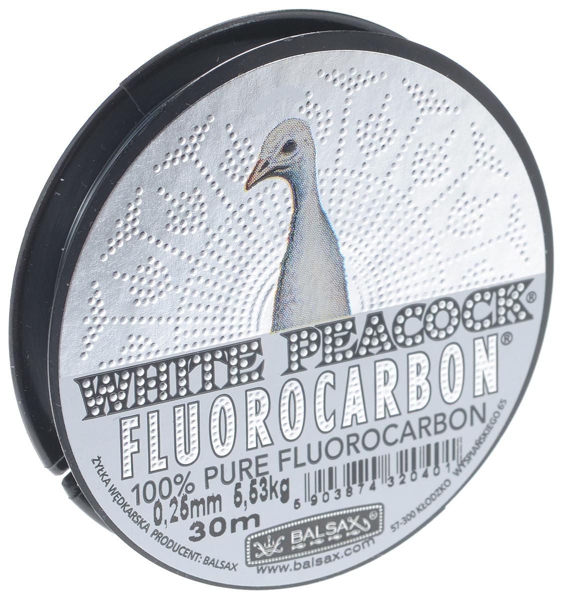 Леска Balsax White Peacock Fluorocarbon, сечение 0,25 мм, длина 30 мPGPS7797CIS08GBNVЛеска зимняя Balsax White Peacock Fluorocarbon выполнена из флюорокарбона, благодаря которому она становится абсолютно невидимой в воде. Обычные лески отражают световые лучи, поэтому рыбы их обнаруживают. Флюорокарбон имеет приближенный к воде коэффициент преломления, поэтому пропускает сквозь себя свет, не давая отражений. Рыбы не видят флюорокарбон. Многие рыболовы во всем мире используют подобные лески в качестве поводковых, благодаря чему получают лучшие результаты.Флюорокарбон на 50% тяжелее обычных лесок и на 78% тяжелее воды. Понятно, почему этот материал используется для рыболовных лесок, он тонет очень быстро. Флюорокарбон не впитывает воду даже через 100 часов нахождения в ней. Обычные лески впитывают до 10% воды в течение 24 часов, что приводит к потере 5-10% прочности. Флюорокарбон не теряет прочности. Сопротивляемость флюорокарбона к истиранию значительно больше, чем у обычных лесок. Он выдерживает температуры от -40°C до +60°C.