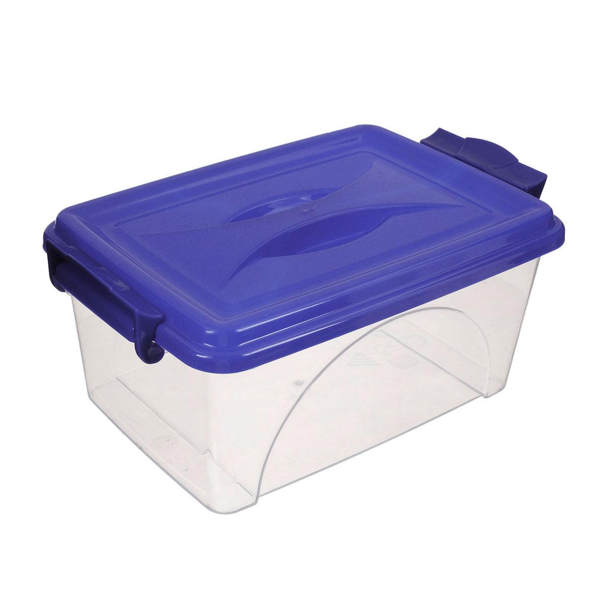 Контейнер Альтернатива, цвет: прозрачный, синий, 11,5 л1004900000360Контейнер Альтернатива выполнен из прочного пластика. Он предназначен для хранения различных мелких вещей. Крышка легко открывается и плотно закрывается. Прозрачные стенки позволяют видеть содержимое. По бокам предусмотрены две удобные ручки, с помощью которых контейнер закрывается.Контейнер поможет хранить все в одном месте, а также защитить вещи от пыли, грязи и влаги.
