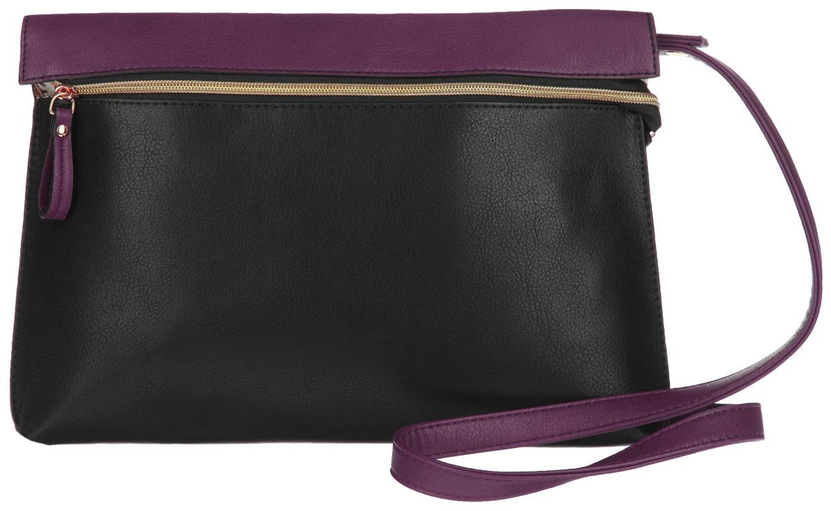 Сумка женская Jane Shilton, цвет: черный, фиолетовый. 1904A-B86-05-CСтильная сумка Jane Shilton выполнена из искусственной кожи, оформлена металлической фурнитурой и подвеской с символикой бренда.Сумка содержит одно отделение, которое закрывается на застежку-молнию. Внутри изделия расположены: накладной карман для телефона и врезной карман на застежке-молнии. Снаружи, на задней стороне, размещен накладной карман на магнитной кнопке. Изделие оснащено съемным плечевым ремнем регулируемой длины.Оригинальный аксессуар позволит вам завершить образ и быть неотразимой.