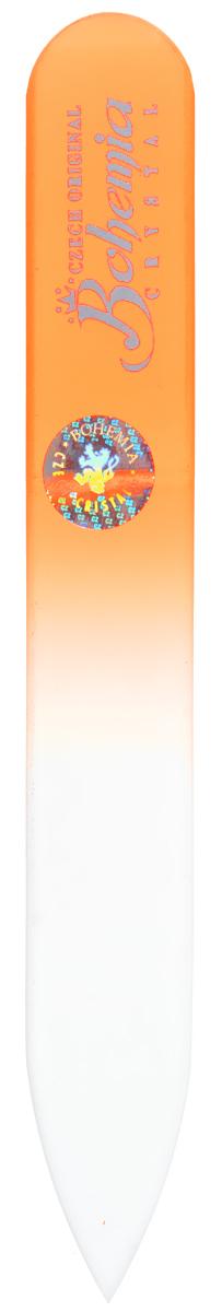 Bohemia Пилочка для ногтей, стеклянная, чехол из мягкого пластика, цвет: оранжевый. 0902IM268Стеклянная пилочка Bohemia подходит как для натуральных, так и для искусственных ногтей. Она прекрасно шлифует и придает форму ногтям. После пользования стеклянной пилочкой ногти не слоятся и не ломаются. При уходе за накладными ногтями во время работы ее рекомендуется периодически смачивать в воде. Поверхность стеклянной пилочки не поддается коррозии.К пилочке прилагается замшевый чехол.Материал пилочки: богемское стекло.