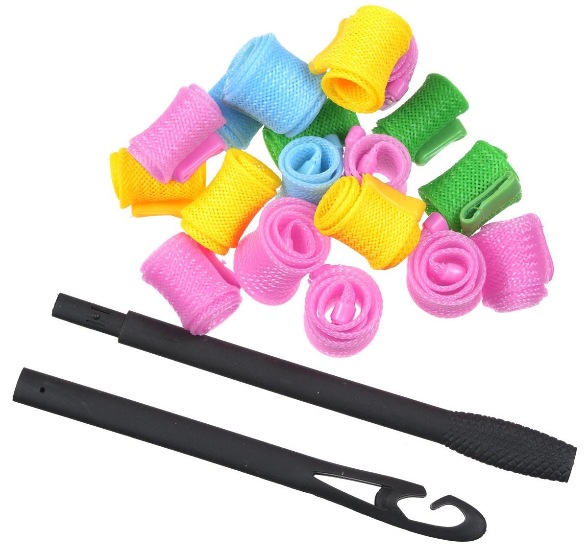 Magic Roller Бигуди круглые, 18 штCF5512F4Набор бигуди Magic Roller является простым и легким способом всегда выглядеть безупречно и стильно! Предназначен для создания мелких кудряшек, локонов и волн, а также придания дополнительного объема. Бигуди произведены из мягкого материала, и в них можно спать.Magic Roller выполнены из мягкого пластика с силиконовыми наконечниками, что позволяет им служить долго, подходят для кончиков и на волосы до 25 см, а также на каскадную стрижку.Ваша прическа зависит только от вашей фантазии и настроения!Преимущества волшебных бигуди Magic Roller: Создают большой объем.Удобны и легки в использовании. Справится даже ребенок!Подходят как для коротких, так и для волос до 25 см.Позволяют легко контролировать направление и равномерность укладки без заломов.Обеспечивают бережное отношение к волосам.Смена имиджа за час.Процесс накручивания бигуди Magic Roller никогда не утомит вас.Экономия времени и денег на дорогих салонах.Возможны любые прически: от струящихся локонов, до фиксированных вечерних и свадебных причесок.Волшебные бигуди Magic Roller - это здоровая альтернатива химической завивке.К бигудям прилагается специальный крючок для протягивания пряди внутрь бигуди.Бигуди надеваются на влажные волосы и высушиваются тёплым феном, так что даже самые жесткие и непослушные волосы подчиняются и ложатся красивыми спиральными локонами.Порядок использования:1. Слегка намочить волосы.2. Собрать двойной крючок.3. Слегка намочить волосы. Нанести мусс или гель при необходимости на влажные волосы.4. Пропустить крючок через бигуди насквозь.5. Зацепить небольшую прядь с помощью крючка у основания локона.6. Пропустить прядь с помощью крючка сквозь бигуди.7. Проделать то же самое с остальными бигуди по всему контуру головы.8. Подержать волосы 5-10 минут.9. Высушить волосы феном или с помощью термо шапки.10. Придерживая одной рукой локон у основания, другой снять бигуди.Причёска готова.Если волосы жёсткие и непослушные рекомендуется поносить бигуди подольш
